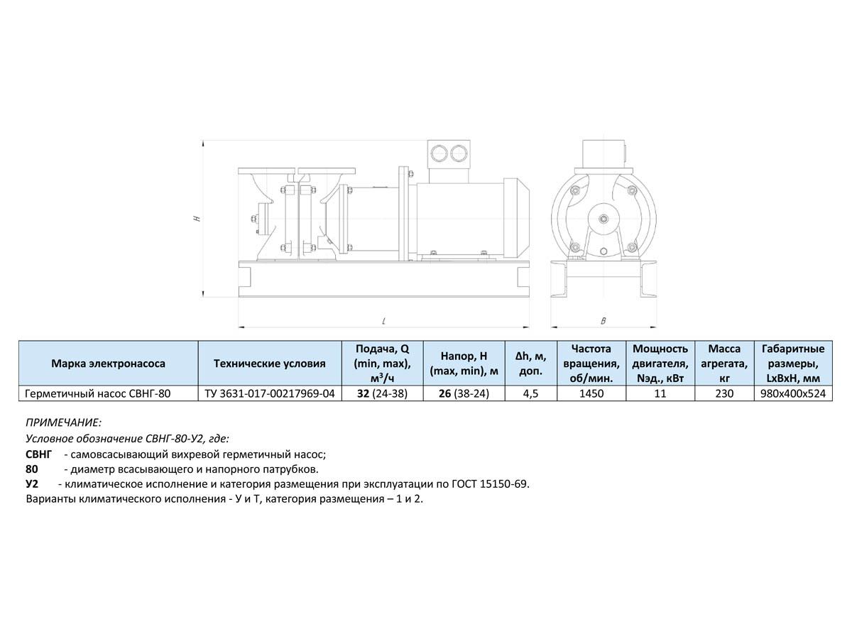 Герметичные электронасосные агрегаты СВНГ-80